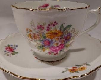 "Signed Coalport ""Fragrance"" Tea Cup and Saucer– Pattern 9504"