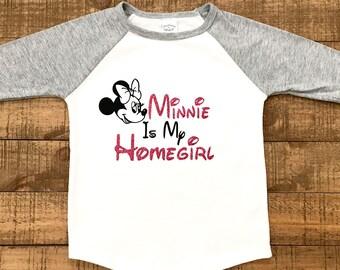 girls disney shirt - minnie mouse - girls minnie mouse shirt - girls raglan shirt - minnie is my homegirl - toddler disney shirt