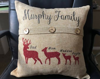 Deer Family Pillow - Family Pillow - Deer - christmas pillow - family christmas pillow - deer christmas pillow - christmas gift pillow
