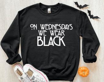 on wednesdays we wear black pullover sweater - witch halloween shirts - halloween sweaters - halloween - wednesdays we wear black - witch