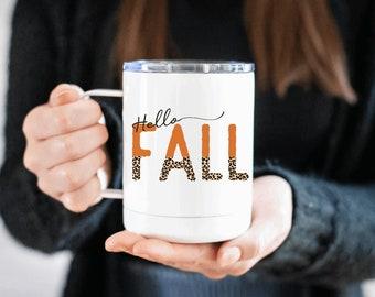 hello fall mug - fall mug fall cup - insulated mug - travel mug - pumpkin spice mug - fall mug - pumpkin spice - mugs - fall - cups - cup