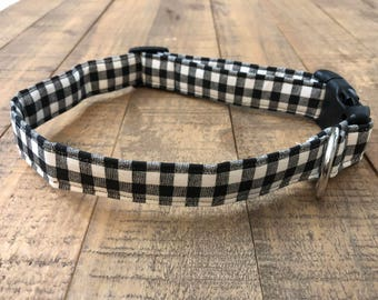 black and white checker dog collar - black and white dog collar - boy dog collar - black buffalo dog collar - buffalo dog collar