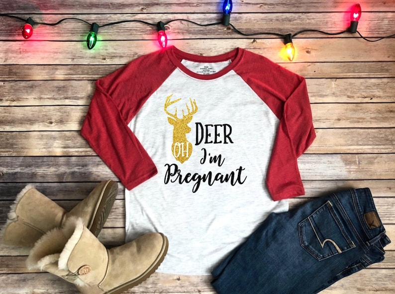 01b50d465a7f2 Oh deer I'm pregnant womens raglan pregnancy | Etsy