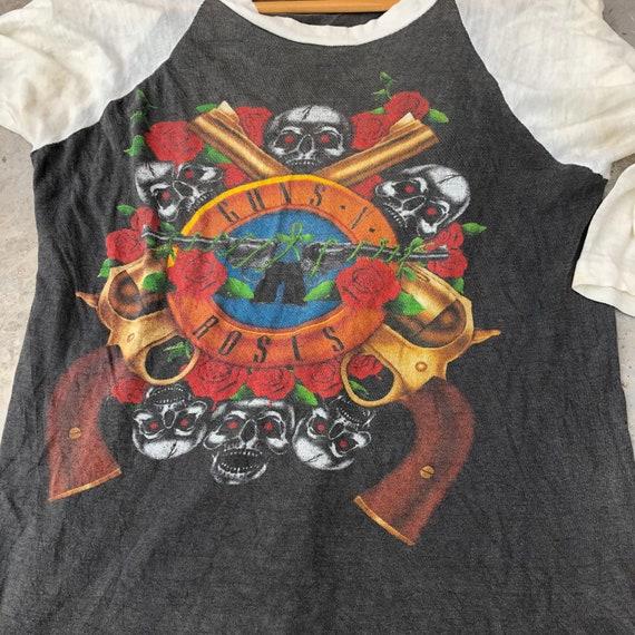 Vintage 90s Guns N Roses Raglan Tshirt , Rock Ban… - image 4