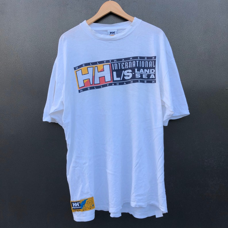 Vintage 90s Helly Hansen Sea Gear Big Logo T Shirt Rapper Hypebeast Oversized T-shirt