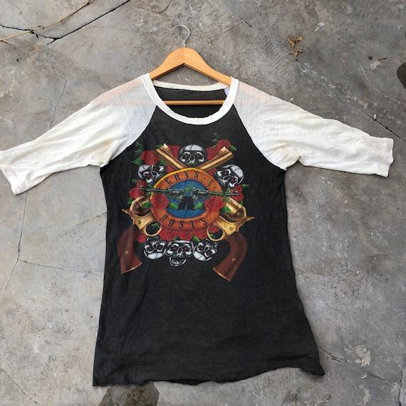 Vintage 90s Guns N Roses Raglan Tshirt , Rock Ban… - image 1