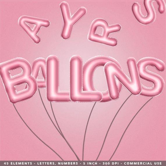 Rosa Rosa Buchstaben Png Ballon Clipart Rosa Ballon Clipart Etsy