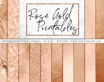 Rose Gold Digital Paper Pack - Rose Gold Foil, Rose Gold Backdrops, Rose Gold Printable Paper, Rose Gold Scrapbook, Rose Gold Marble Paper