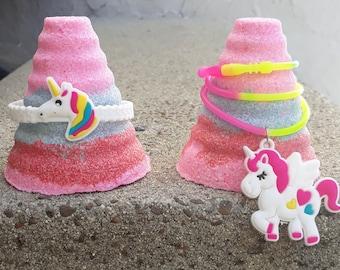 Unicorn horn bath bomb with surprise