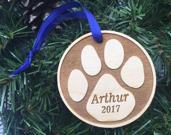 custom pet wood ornament / personalized pet ornament / pet memorial / cat dog lover gift / custom Christmas ornament / engraved wood