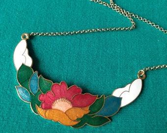 Vintage floral cloisonne necklace