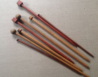 4 pairs of vintage wood knitting needles