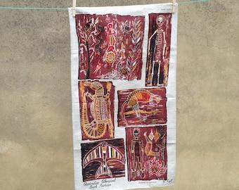 Vintage Lein linen tea towel - indigenour art motif - retro teatowel
