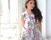 Chiffon Floral Dress for women, White chiffon dress, Plus size available