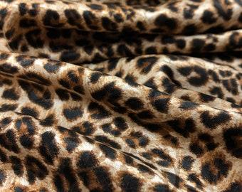 by the yard silk dress leopard style silk fabric Brown color silk stretch fabric