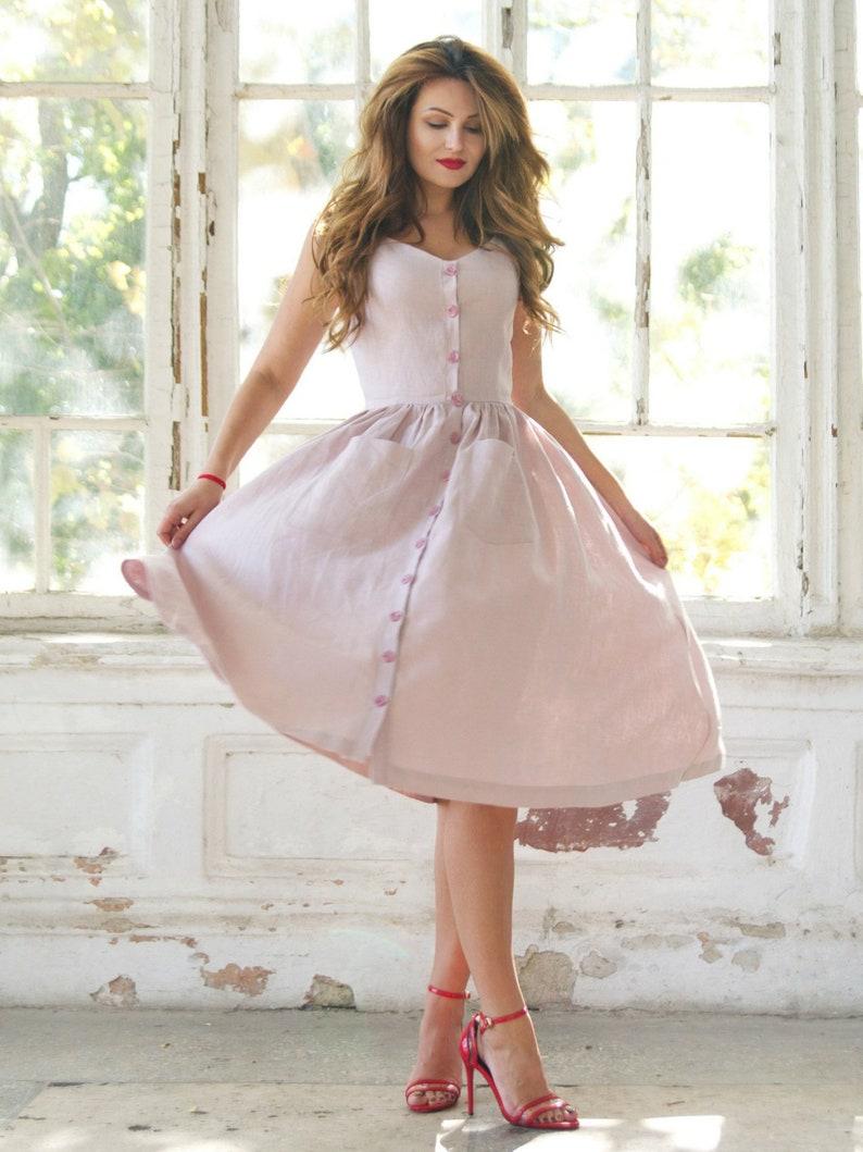 Natural linen dress for women Linen dress plus size Button | Etsy