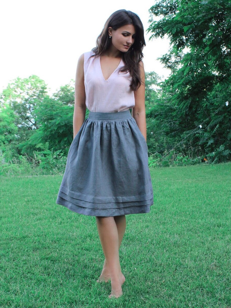 678fbf6c8c24 Natural linen skirt with pockets and below the knee length 30