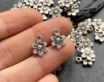 2 pcs tiny sterling silver flower charm pendant  YB4