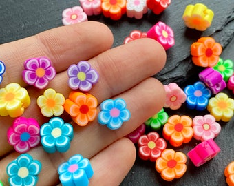 New 1 Strand pink purple Flower Polymer Clay Fimo Tube beads 15