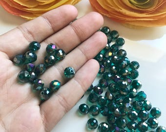 8mm Dark sea green crystal rondelle - dark sea green beads - deep green glass beads - 35pcs jewelry making beads