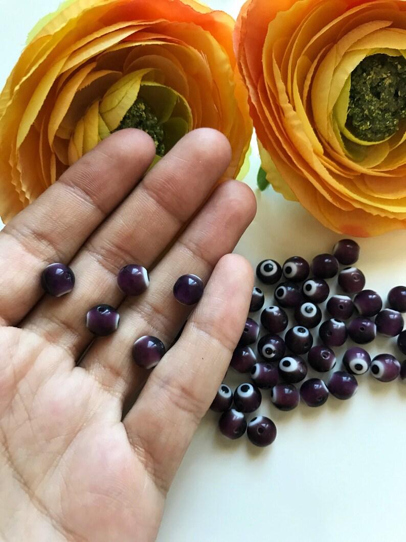 Turkish evil eye purple color glass beads, 50pcs Purple Nazar Evil Eye Good  Luck Beads Turkish eye, Round Glass evil eye beads