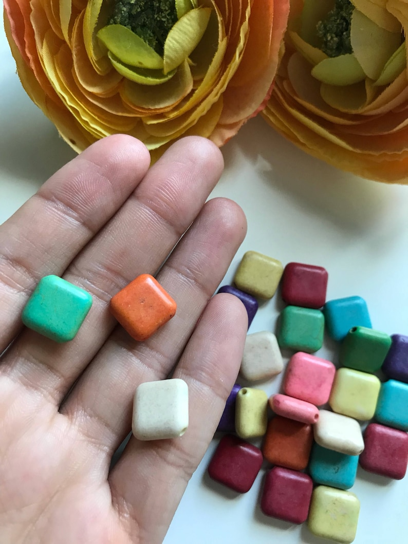 Mixed color beads square natural beads, Full Strand mixed color beads natural stone bead Colorful square beads natural beads