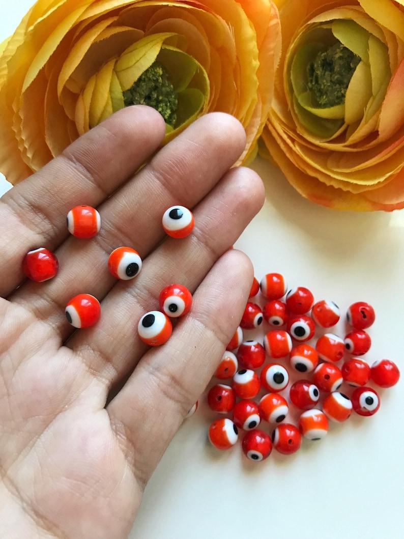Turkish eye 8mm Turkish orange evil eye beads Round glass evil eye bead 50pcs orange evil eye glass beads Nazar evil eye good luck beads