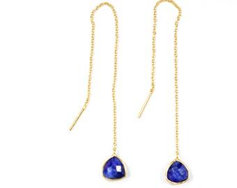 sapphire earring ,Threader Earrings, gemstone earring ,natural stone earring , birthstone earring , blue color earring , long chain earring,