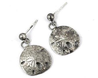 Sterling Silver Sand Dollar Earrings   Vintage Womens Earrings