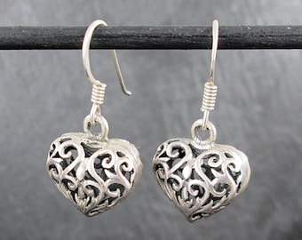 Sterling Silver Heart Earrings | Vintage Womens Earrings