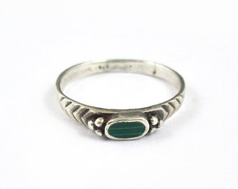 Sterling Silver Faux Malachite Stacking Ring | Size 7.25 | Vintage Women's Ring