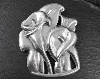 Sterling Silver Large Calla Lily Brooch   Vintage Women's Brooch