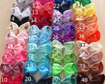 6 Inch Large Ribbon Bow With Alligator Clip Available in 40 Bright Colours