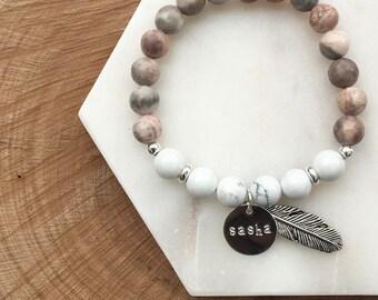 Personalised Handmade Marble Gemstone Bracelet