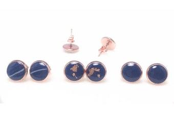 Navy x Rose Gold Earrings