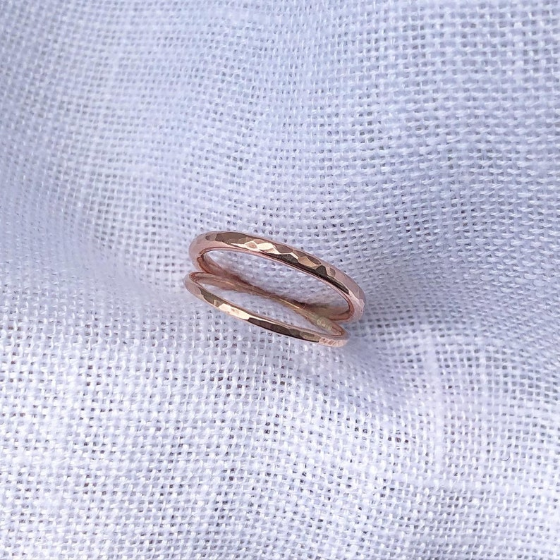 2 Dainty 14k GoldRose Gold Filled Stacking Rings