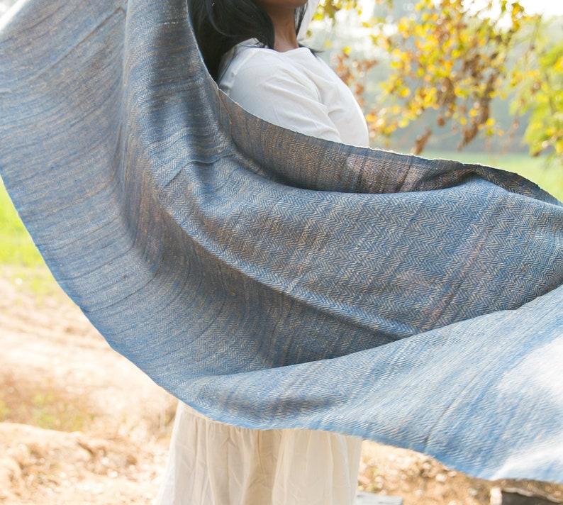 f24bb8864 Organic Handspun & Handwoven Silk Wool Natural Indigo Scarf | Etsy