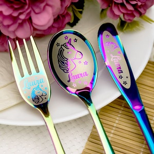 show original title Details about  /Children Cutlery with Embossed vehicles 4 pieces including engraving-kb050