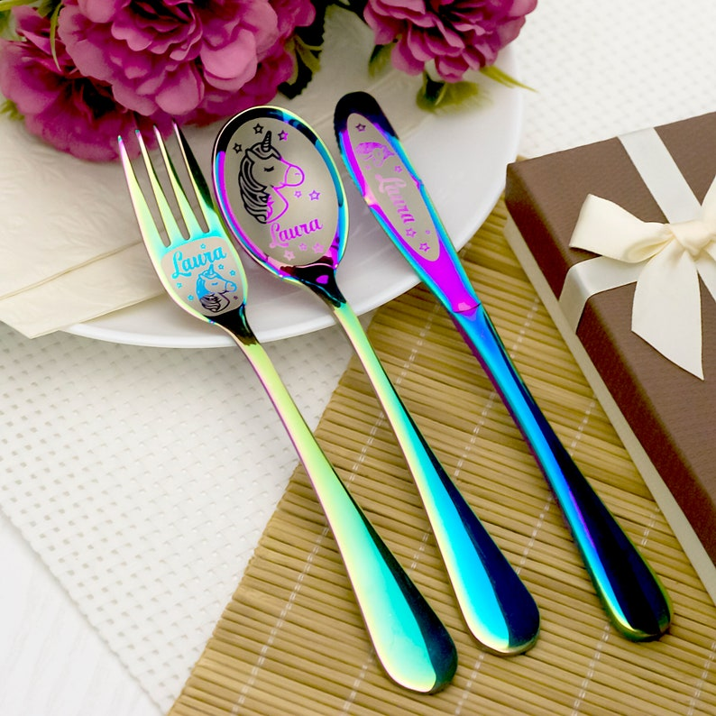 Personalized baby gifts Unicorn gifts for girls Personalized children/'s unicorn cutlery with engraved Baby name Gift for kids