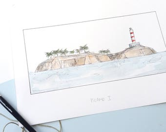 Island, illustration in watercolor, blade A5, A4 or A3, ISLAND, wall decor