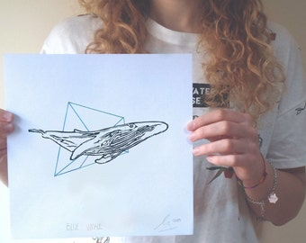Recorded whale ORIGINAL, handmade