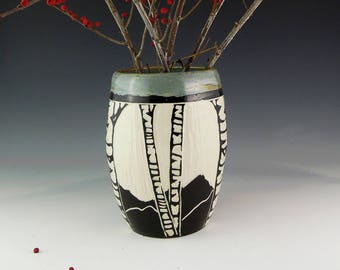 Large Sgraffito  Pottery Birch Vase in Black White and Gray