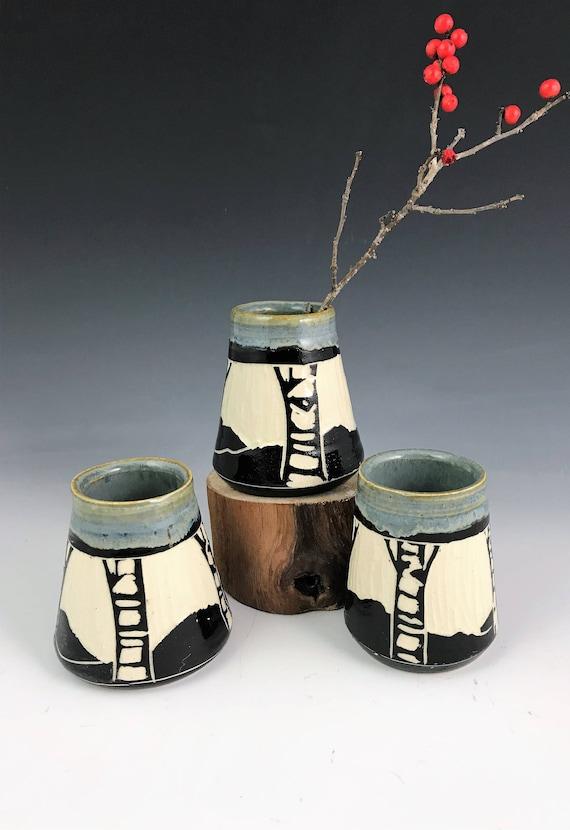 Sgraffito Birch Bud Vases In Gray Black And White Etsy