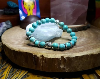 Turquoise 8mm Crystal Bead Buddha Head Bracelet