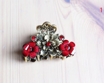 Red flower claw clip in antique bronze with acrylic petals and and glass crystal rhinestones hair clip, 3 designs