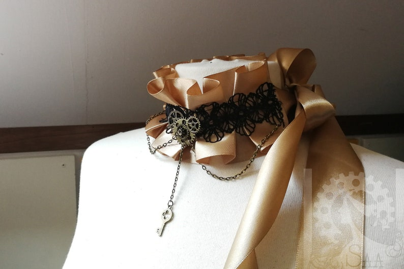 adjustable with bow knot Assymmetrical steampunk handmade scarf choker necklace shiny ribbon and lace bronze tawny gold color handmade