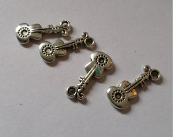 Retro Style Tibet silver guitar alloy charm pendant