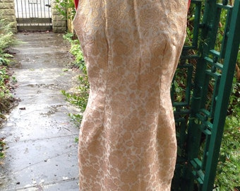 Vintage  Original  1960's Hour Glass Gold  Metallic Brocade Dress