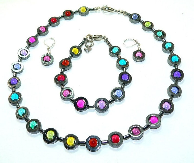 Set necklace rings glass bracelet black beads hematite jewelry set earrings h\u00e4matin colorful