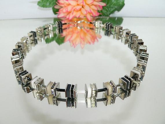 Würfelkette Halskette Collier Hämatit Perlen schwarz rosègold Würfel silber 225d